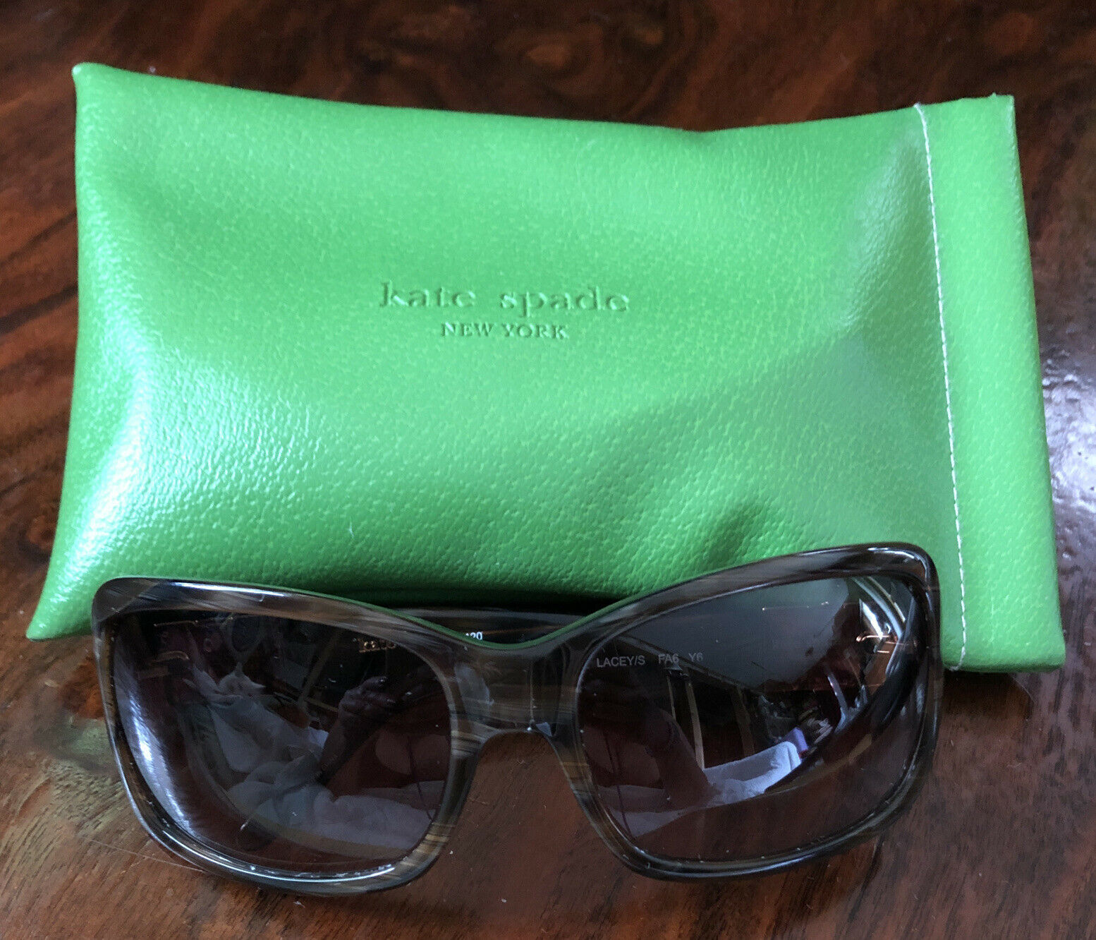 Kate Spade New York Sunglasses Tortoise Laceys 120DN8P Authentic Green Gold Lens