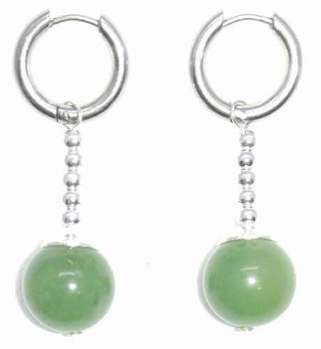 Green Jade Dragonball Dragon Ball Potara Earrings w// Easy to Open//Close Hoop