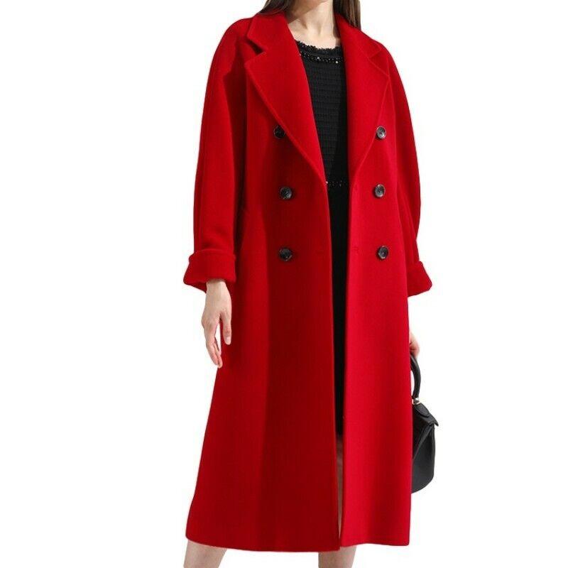Women Lapel Collar Double-Breasted Oversize Outwear Coat Faux Wool Warm Trench D