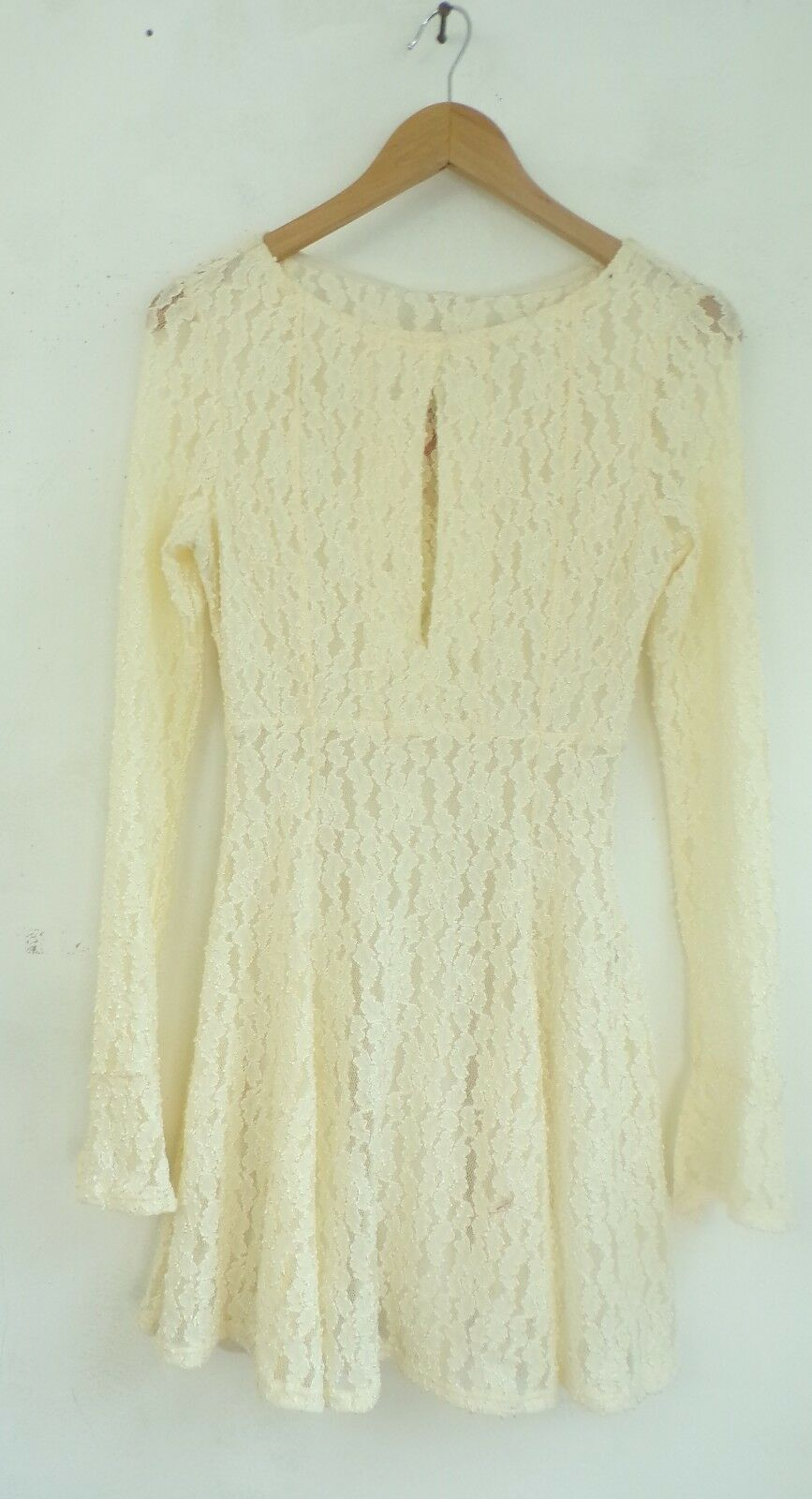 NWT FREE PEOPLE Dress Cream Lace Long Sleeve Boho Peasant Size Small RV