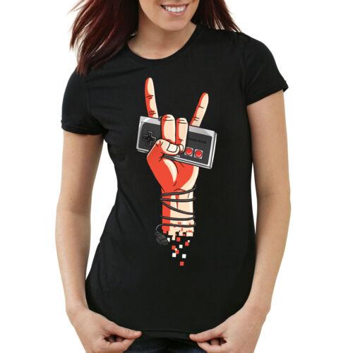 Rock NES T-shirt Femmes Contrôleur Manette Heavy Gamer Metal Musique Vinyl Tape LP