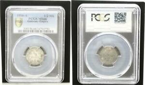 1/2 Mark Silver 1916 A Fresh Mint Condition PCGS Certified PCGS MS66