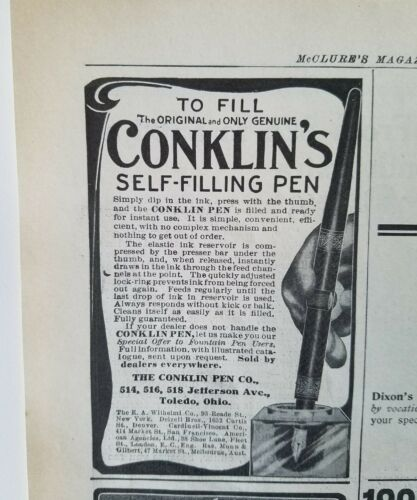 1906 antique Conklin selffilling fountain pen ink well add
