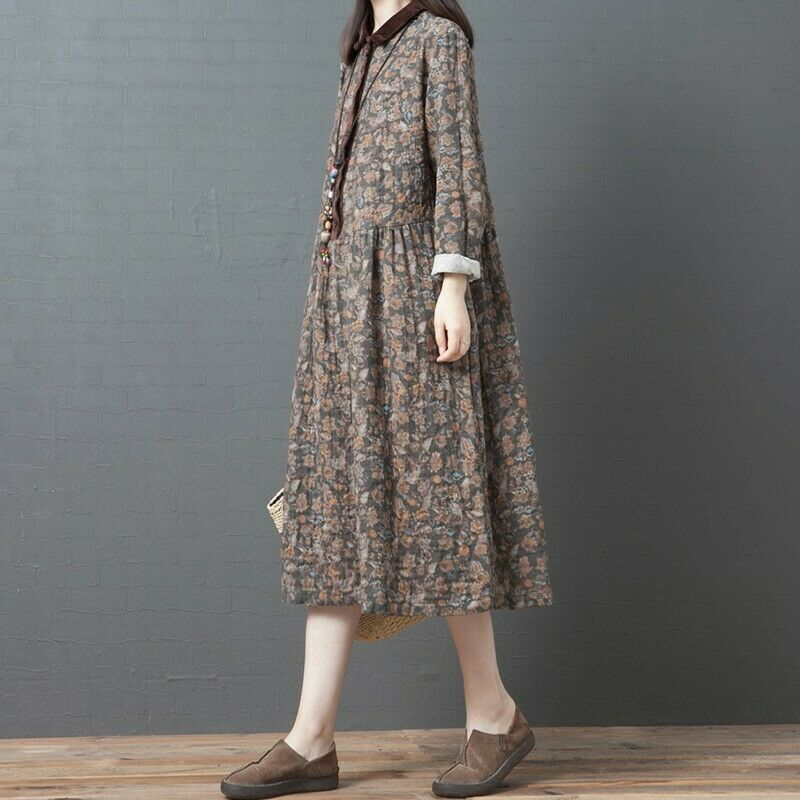 Women Cotton Linen Loose Baggy Shirt Dress Maxi Floral Print Ethnic Robes Kaftan