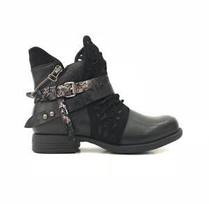 finest selection 764a5 d7eff Details zu Damen Biker Boots Stiefeletten Stiefel Schuhe Nieten Zipper  schwarz 36-41