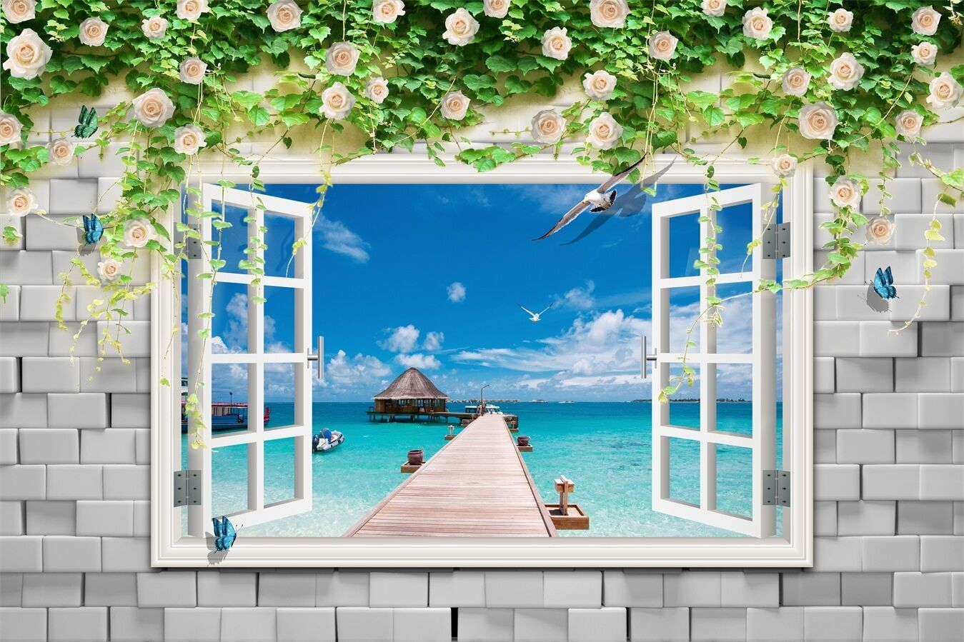 3D Sea, bridge bridge bridge 678 Wall Paper Print Wall Decal Deco Indoor Wall Murals 81f0ee