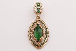Turkish-Hurrem-Jewelry-Marquise-Cut-Emerald-Topaz-925-Sterling-Silver-Pendant