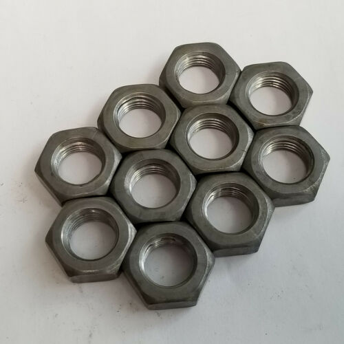 9//16-18 Hex Jam Nuts Lot of 10 Plain Steel