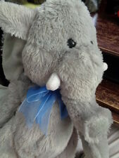 "Elephant Blue Bow Best Made Toys 16"" Floppy Gray Sot Stuffed Plush with Tusks"