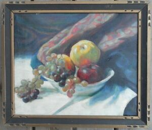 Maurice Sterne 1878 1957 Old Oil Painting Canvas Fruit Bowl Table