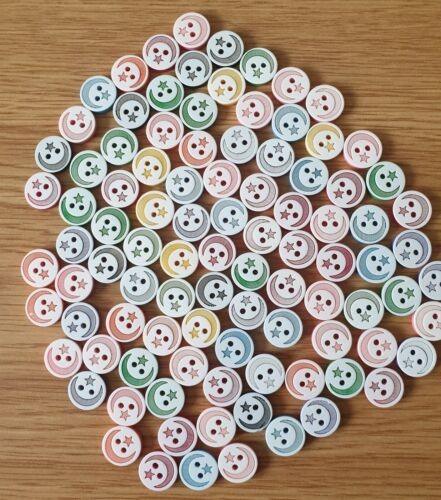 Various Colours Moon /& Star Resin Buttons Size 13mm Baby Knits