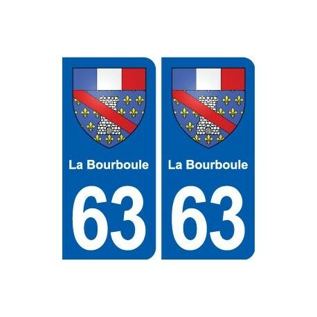 63 La Bourboule blason autocollant plaque stickers ville -  Angles : arrondis