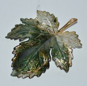 BATH-amp-BODY-WORKS-GLITTERY-GREEN-GOLD-MAPLE-LEAF-MAGNET-LARGE-3WICK-CANDLE-DECOR
