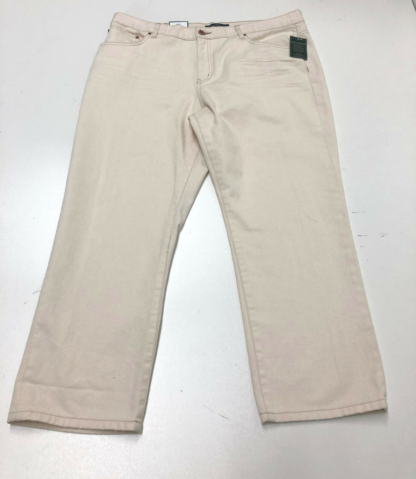 Ralph Lauren Jeans Women Straight Girlfriend Denim Pants Beige Size 16 New