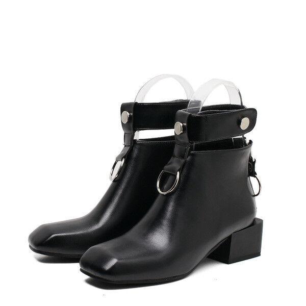 botas bajo zapatos botas militares 5 cm negro elegantes como piel 9651