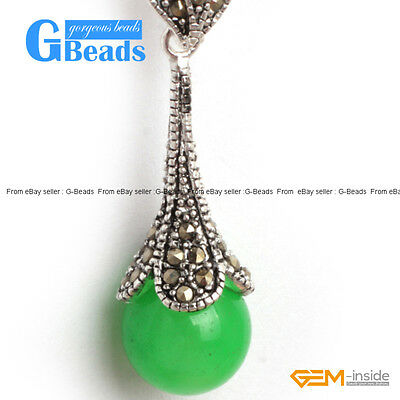 Fashion Colorful 12mm Round Ball Marcasite Silver Pendant + Chain Necklace GB
