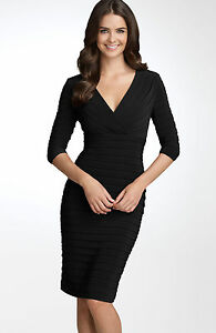 10a61742d73 Image is loading ADRIANNA-PAPELL-SHUTTER-PLEAT-JERSEY-BLACK-SHEATH-DRESS-
