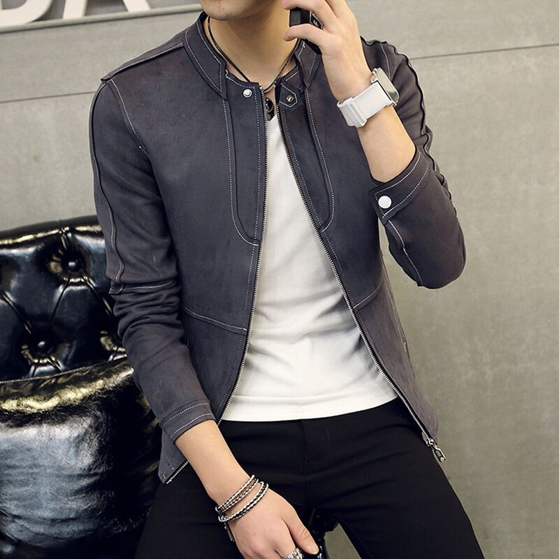Nuevo Para hombres de Moda Moda Moda Abrigo Chaqueta Corta Estilo Coreano Informales De Motor De Manga Larga Talla Grande 518b70