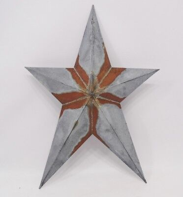 """SET of 5 Primitive Shabby Country Rusty 8/"""" Barn Star Tin Hanging Nice Size"""