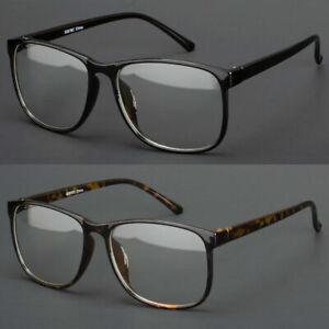 Large-Oversized-Vintage-Glasses-Clear-Lens-Thin-Frame-Nerd-Glasses-Retro-Black