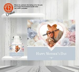 Mothers Day Mum Mam Mama Personalised Candle Photo LABEL Make your gift UNIQUE