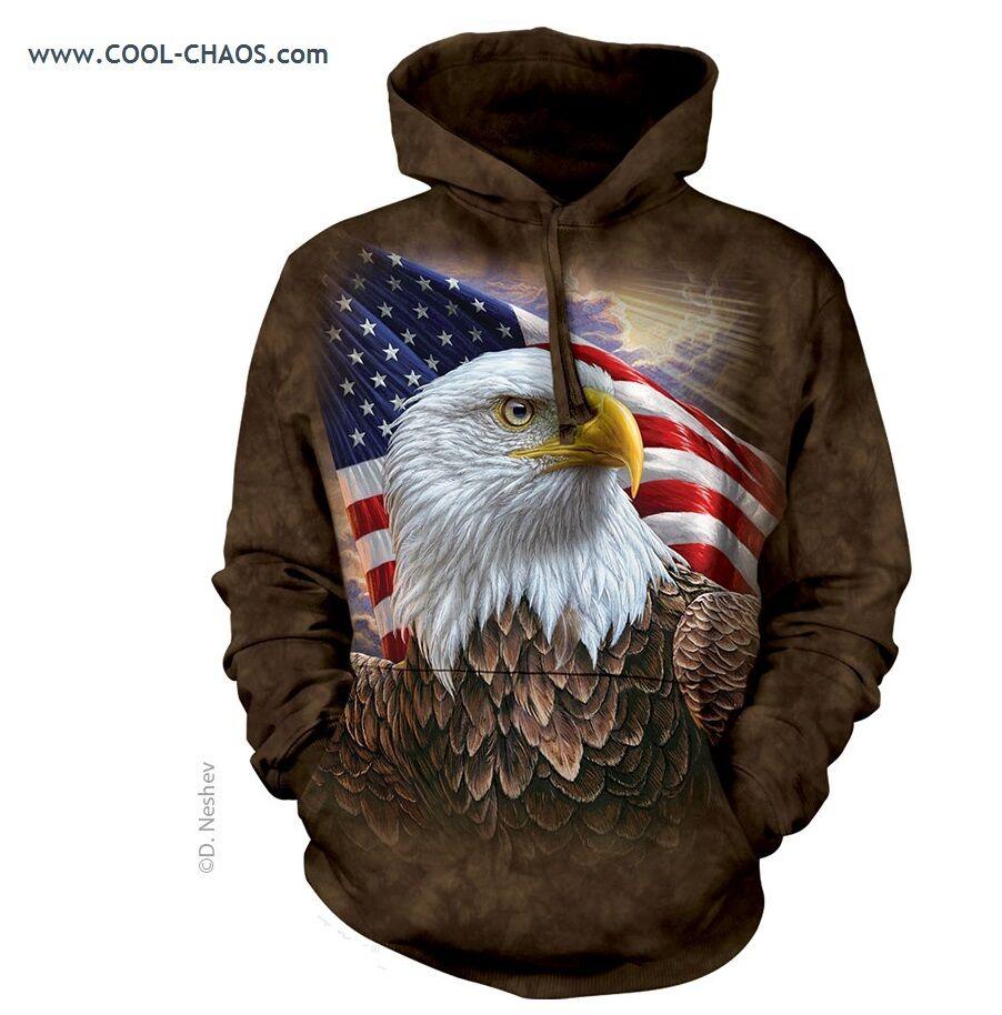 Independence American Flag Eagle Hoodie / Tie Dye Hoodie, 3D Eagle