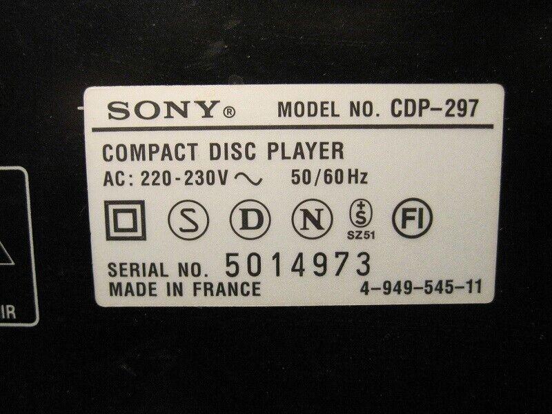 CD afspiller, Sony, CDP-297