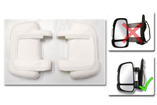 Peugeot Boxer Door Mirror Casing PROTECTOR Protective Covers WHITE Pair 2006 On