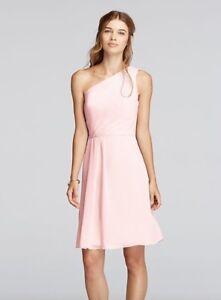 5137c6f3dcb0 David's Bridal Petal Pink Bridesmaid Dress Short One Shoulder ...