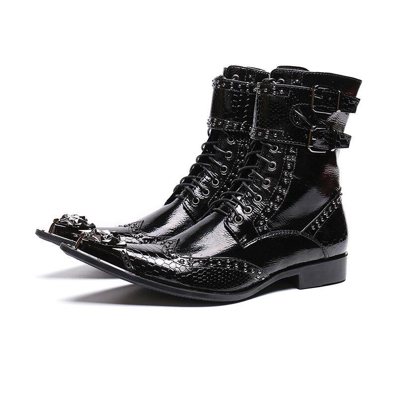 Hommes Chaussures en Cuir Affaires Formel Bout Pointu toepunk Rivet boucle Bracelet Lace Up démarrage
