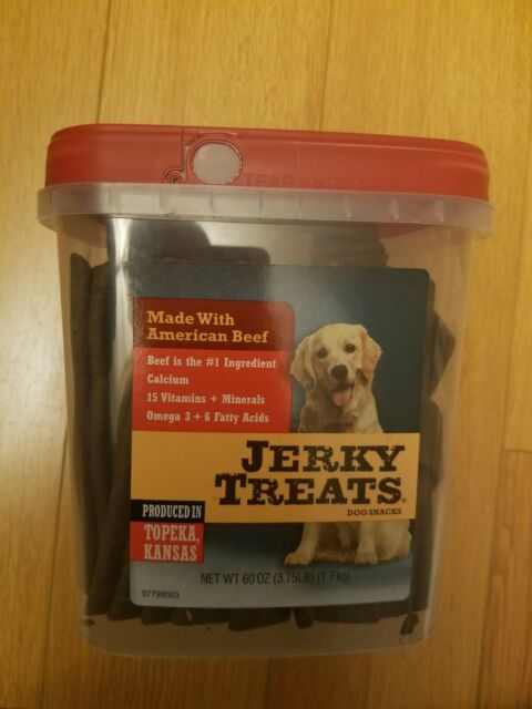 New   60 oz  Jerky Treats American Beef Dog Snacks 15 Vitamins + Minerals