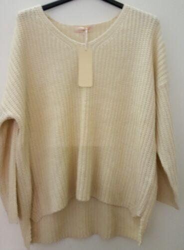 Taille Pullover Style V Pull Italie Abbino Beige En Unique Col Tricot 4x5z1S