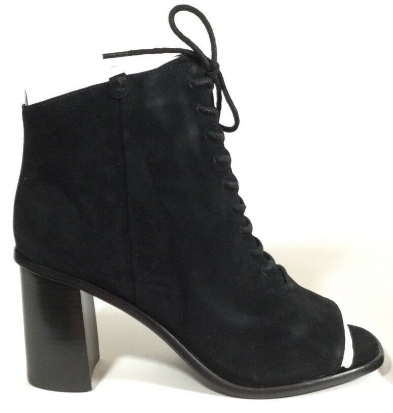 Frye Amy Peep Lace Black Black Black Suede Bootie Size 8 New In Box NIB 28d739