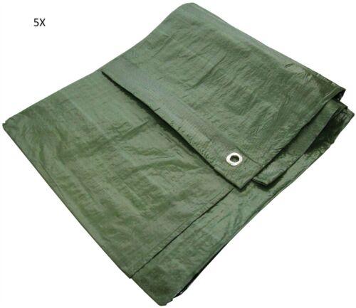 "5x 12x8/"" Green Waterproof Tarpaulin Heavy Duty Strong Light Weight Ground Sheet"