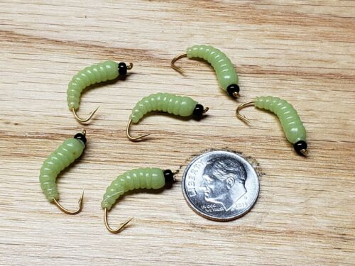 6 #12  BH Grub Worms Glow n Dark  Wet Fly Trout Pan Fish, Crappie