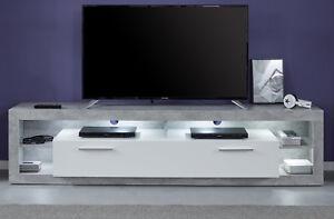 Tv Lowboard Fernsehtisch Hochglanz Weiß Grau Stone Unterteil Board