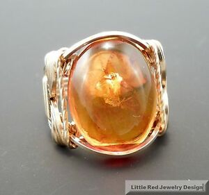 14 k Gold Filled Baltic Amber Cabochon Wire Wrapped Ring