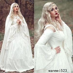 783bdbd57d7d Image is loading Renaissance-Medieval-Bell-Sleeve-Wedding-Dress-With-Cloak-