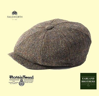 Newsboy Cap in Blue up to 63cm XXL Failsworth Harris Tweed /'Carloway/' Bakerboy