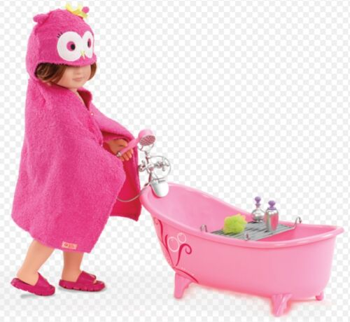 "OWL HOODED TOWEL Set Fits 18/"" American Girl Our Generation Doll Pink BATH-TUB"
