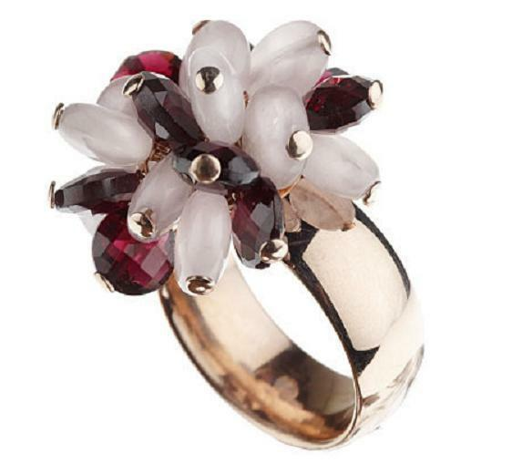 SIMONA COLLINI STAINLESS STEEL MULTI GEMSTONE CLUSTER RING SIZE 10 QVC SOLD OUT