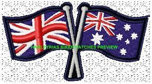 AUSTRALIA-BRITAIN-CROSSED-FLAGS-BIKER-PATCH-100-X-55MM