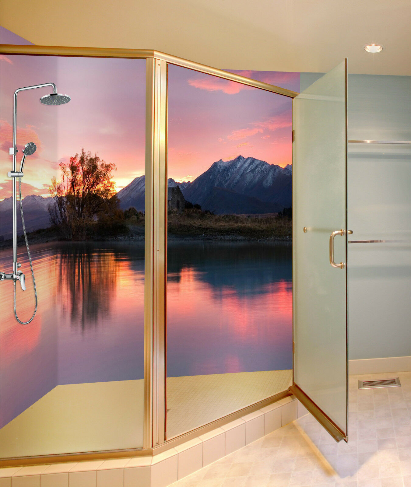 3D Lake Rosy Sky 108 WallPaper Bathroom Print Decal Wall Deco AJ WALLPAPER CA