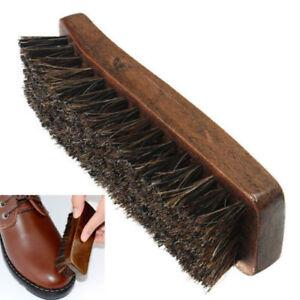Mini Natural Bristle Horse Hair Shoe Shine Polish Buffing Brush Wooden WA