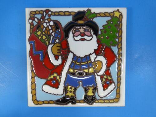 "Ceramic Art Tile 6/""x6/"" Western Santa Saint Nick Christmas w// display stand G36"