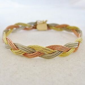 Details About 14k Yellow White Rose Gold 8mm Braided Mesh Chain Bracelet 8 7 Grams 6 5