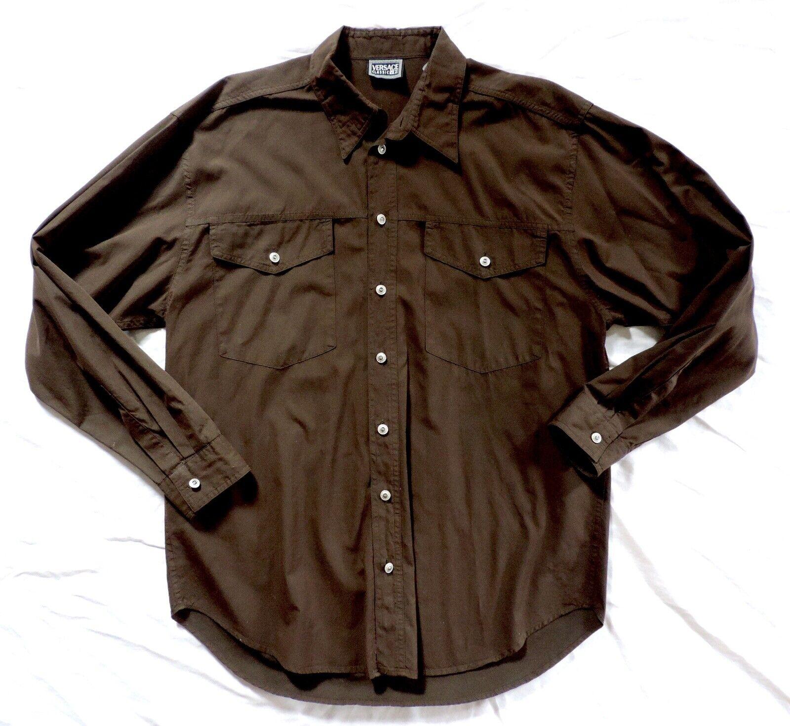 Vtg VERSACE Classic V2  Mens XL Brown Longsleeve LS Button Down Shirt
