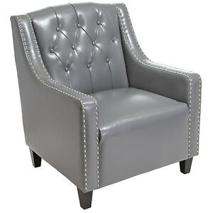 Image Is Loading Coogee Grey Leather ArmChair Amp Footstool Set Lounge