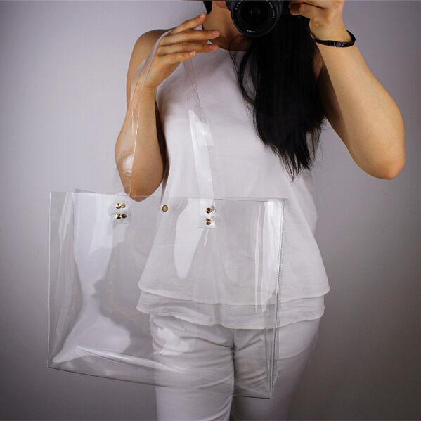 Clear Vinyl Plastic Shoulder Bag Oversized Extra Large Tote Shopper Straps PVC