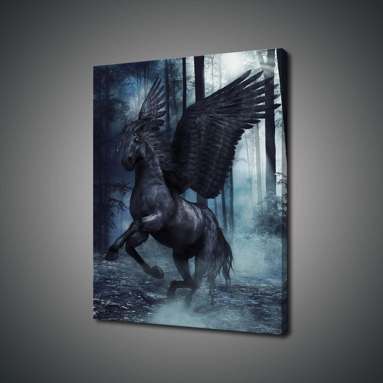 Nero mozzafiato alato cavallo animale stampa art. a muro FOTO PHOTO